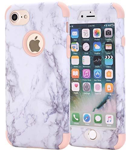 AOKER iPhone 6Plus Case, Marmor Design Slim Dual Layer Kratzfest stoßfest Hard Back Cover Soft Silikon Schutzhülle passgenau für iPhone 6Plus 6S Plus 14cm, Rosegold - Iphone Sechs Gelb Otterbox