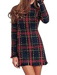 bc0a8346a36a MsLure Damen Herbst Kleid Vintage Plaid Tweed Kurz Langarm Christmas Quaste  Dress Winter Frühling