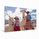 Premium Textil-Leinwand 120 cm x 80 cm quer Frau und Mädchen mit Lama und Alpaka | Wandbild, Bild auf Keilrahmen, Fertigbild auf echter Leinwand. Maca, Colca Canyon, Peru (CALVENDO Orte)