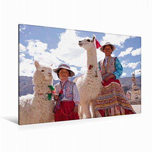 Premium Textil-Leinwand 120 cm x 80 cm quer Frau und Mädchen mit Lama und Alpaka | Wandbild, Bild auf Keilrahmen, Fertigbild auf echter Leinwand, ... Maca, Colca Canyon, Peru (CALVENDO (Von Peru Kinder Tracht Für)