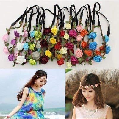 Fang-denghui, Rose Flower Head Kette Schmuck Hohle elastische Haarband Stirnband Hochzeit Mode Damen Blume Stirnband Mithelfer (Color : Blue) (Head Kette Schmuck)