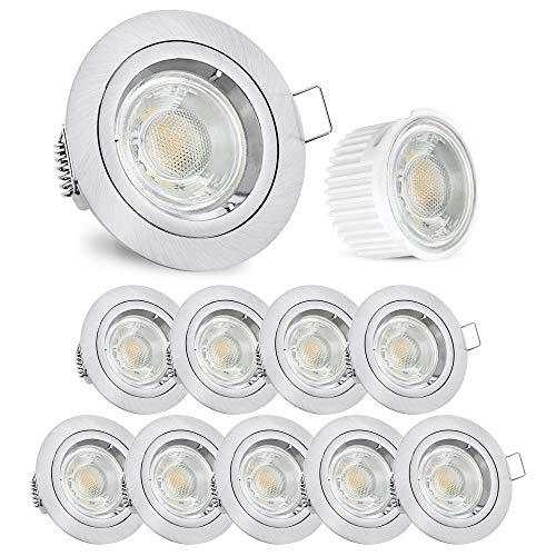 linovum® Einbauleuchte LED flach Set 10 Stück 230V gebürstete Optik - runde Spot Deckenleuchten inkl. LED warmweiß 5W 230V -