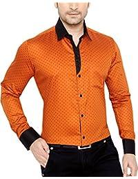 GlobalRang Men's Cotton Casual Polka Printed Shirt