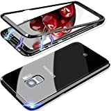 Elewelt Magnetische Hülle für Samsung Galaxy S9 Plus, Magnetic Adsorption Handyhülle mit Eingebauter-Magnet Funktion, [Metall Bumper] Dünn Panzerglas Back Case für Samsung S9 Plus 6.2 Zoll [Schwarz]