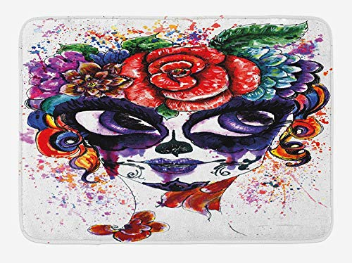 ARTOPB Sugar Skull Bath Mat, Watercolor Painting Style Girl Face with Make Up and Floral Crown Big Eyes, Plush Bathroom Decor Mat with Non Slip Backing, 23.6 W X 15.7 W Inches, Multicolor