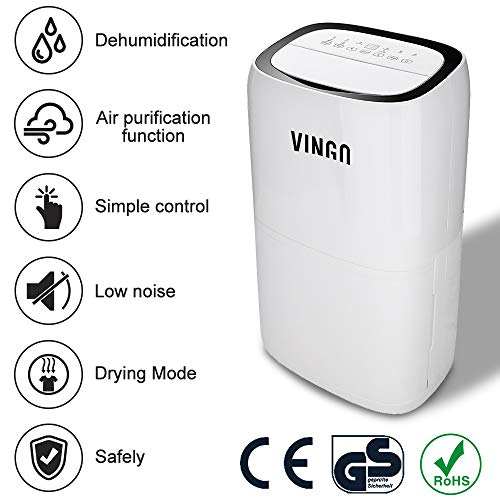 vingo 26L Deshumidificador Compacto y Portátil Purificador de Aire Dehumidifier Bajo Consumo Silencioso función secado