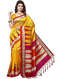 e-VASTRAM Women's Mysore Art Silk Printed Saree With Tassel/Kutch(RIMZIMY_Yellow)