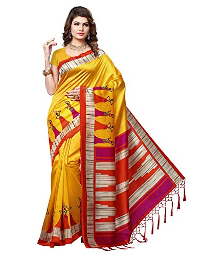 e-VASTRAM Women\'s Mysore Art Silk Printed Saree With Tassel/Kutch(RIMZIMY_Yellow)