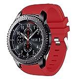 AMERTEER Samsung Gear S3 Frontier / Classic / Moto 360 2nd Gen 46mm Watch Armband - Silikon Sportarmband Uhr Band Strap Erstatzband Uhrenarmband für Samsung Gear S3 Classic Samrtwatch, Nicht für Gear S2 Classic, Red