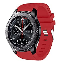 Gear S3 Frontier Classic Watch Band, Amerteer Soft Silicone Fitness Replacement Sports Straps For Samsung Gear S3 Frontier S3 Classic Moto 360 2nd Gen 46mm Smart Wrist Watch, Not Fit S2 & S2 Classic & Fit2, Red