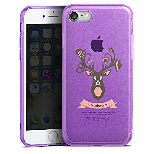 Apple iPhone 8 Silikon Hülle Case Schutzhülle Hirsch Oktoberfest Wiesn Silikon Colour Case lila