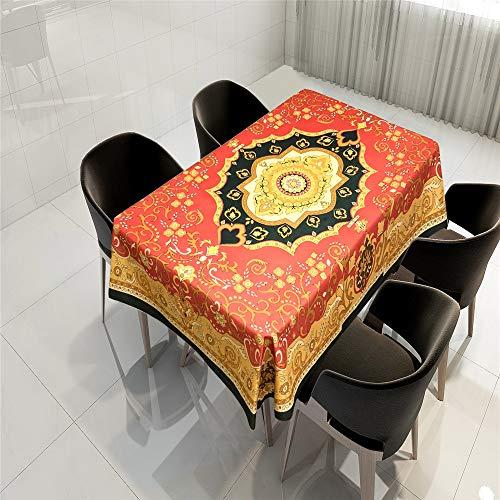 QWEASDZX Mandala Tischdecke National Style Digitaldruck Tischdecken ölbeständig und wasserdicht Tischdecken rechteckige Tischdecken rund 100x140cm