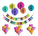Deko Geburtstag, Geburtstagsdeko mit ihre Wunschnummer, Geburtstag Dekoration Set,Happy Birthday, Geburtstagsparty Dekoration für Mädchen und Jungen Jeden Alters - bunt