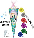 Unbekannt 3-D Glitzer Effekt _ ! - Schultüte -  Disney Frozen - die Eiskönigin  - 85 cm / 12 eckig - incl. Namen und individueller Schleife - Organza Abschluß - Zucke..