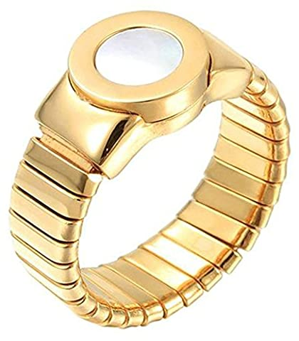 Epinki Women Ring, Stainless Steel Engagement Rings Gold Watch Shape Promise Rings Size L 1/2