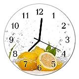 Glasuhr von DekoGlas 30cm runde Bilderuhr aus Acrylglas mit lautlosem Quarzuhrwerk Glaswanduhr Dekouhr Uhr Wanduhren aus PMMA Küchenuhr Glasbilder Wanddekoration Zitronen gelb
