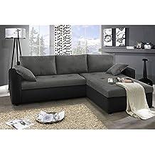 JUSThome Focus Sofá esquinero chaise longue función de cama Gamuza Tela Suede sintética / Cuero sintético Tamaño 142x239x93 cm 1114 Negro / A-68 Brazo derecho