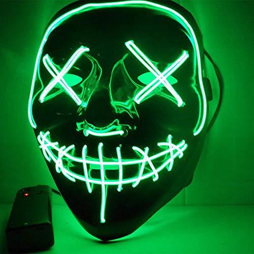 Kostüm Scary Mit Brille - Fewao LED Maske mit 3 Blitzmodi für Halloween Fasching Karneval Party Scary Maske Cosplay led kostüm Maske Kostüm Cosplay Dekoration