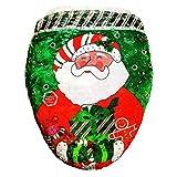 YiyiLai 43*48cm Weihnachten Dekorationen Toillete Set Sitzbezug Weihnachten Toilettendeckelbezug Weihnachtsschmuck Rot