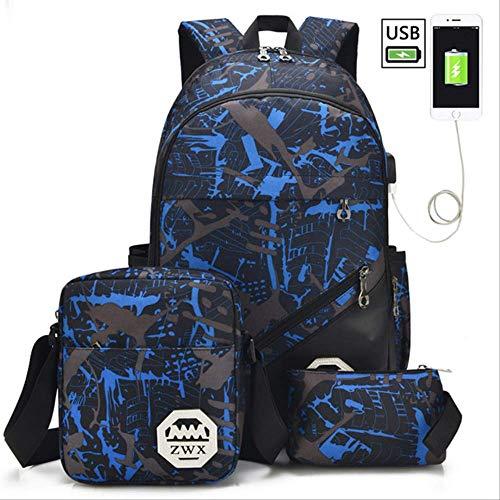 Schultaschen WEN FENG Big Capacity Schule Rucksack Schule Taschen Für Jugendliche Jungen Mädchen Kinder Schultasche Wasserdicht Rucksack Kinder Mochila Escolar 45x30x18 cm Blaues Set