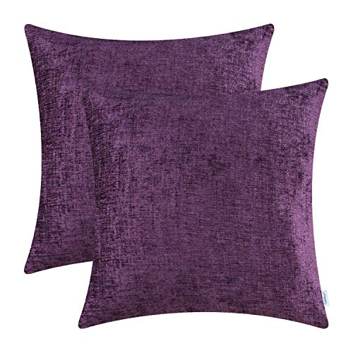 CaliTime Kissenhülle Kissenbezüge 2er Packung 40cm x 40cm Pflaume Lila solid gefärbt weich Chenille Wurfkissenbezüge -