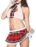 da Donna School Girl Uniform Costume Vestito da Lolita Mini Top e Gonna Plaid a Pieghe