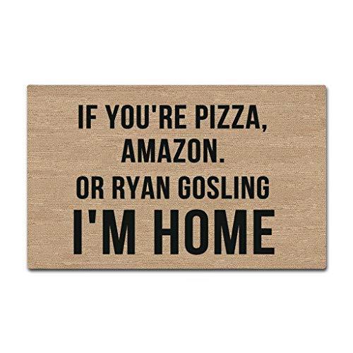 Sun&Home Fußmatte, personalisierbar lustige Fußmatte für drinnen und draußen für Badezimmer Dekoration Vliesstoff rutschfeste Fußmatten Gummi If You're Pizza Amazon Or Ryan Gosling I'm 15.7x23.6 inch