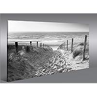 Quadro moderno modo para el mar negro/blanco playa del mar del Norte Impresión sobre lienzo–Quadro X sillones salón cocina muebles oficina casa–Fotográfica Tamaño XXL cuadros