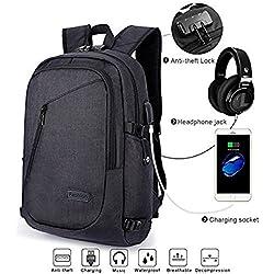 Anti-theft Backpack, Business Laptop Rucksack Schulrucksack Computer USB Rucksäcke für Herren Damen mit Headphone Port fit 12-16 Inch PC(Lock-Schwarz)