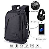 Anti-theft Backpack, Business Laptop Rucksack Schulrucksack Computer USB Rucksäcke für Herren Damen mit Headphone Port fit 12-16 Inch PC(Lock-Schwarz)