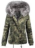 Damen Designer Winter Jacke Camouflage Army Parka Winterjacke Großes Fell B280 [B280-Grau-Gr.42]