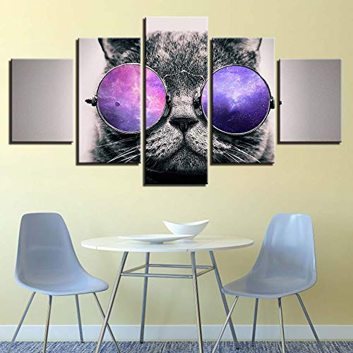 CQMEI Leinwand Malerei, Moderne Leinwand Bild Dekoration Wohnzimmer Wand Kunstwerk 5 Stück Set Gläser Katze Modulare Malerei Poster Hd Animal Print Art Frame