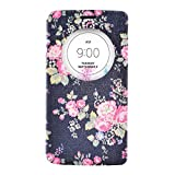 Moon mood LG G3 D855 Quick Circle Schutzhülle, Ansicht Fenster Flip Schutzhülle für LG G3 Quick Circle to Show Time [View Window] PU Leather Flip Wallet Stand Flower Phone Case Cover für LG G3 D855