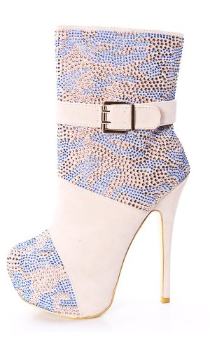 Onlymaker Damenschuhe High Heels Ankle Knoechel Studs Stiletto Boots mit Plateau Natural