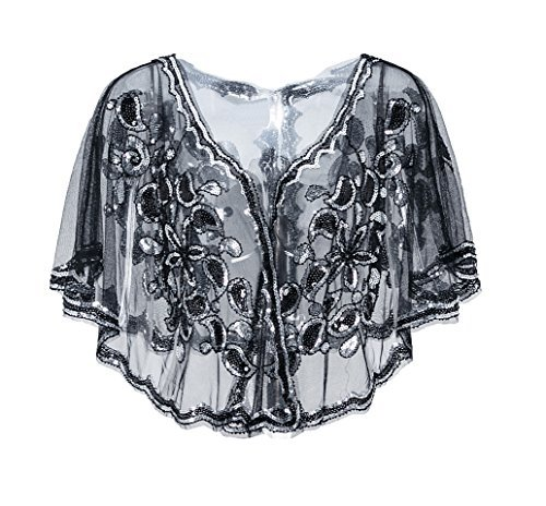 Metme 1920er Jahre Schal Damen Umschlagtücher Stola für Abendkleid Pailletten Perlen Art Deco Wraps Cape Gatsby Kostüm Accessoires Graues Silber