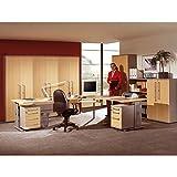 Komplett Büromöbel Set, in Ahorn mit silber, höhenverstellbare C-Fuß Schreibtische, mit Kartei- und Rollcontainer, 5 Aktenschränke und Aktenregal