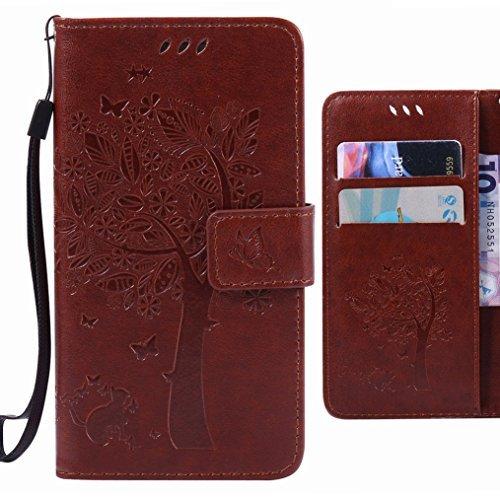 Cover Kaffee (Ougger Handyhülle für Sony Xperia C5 Ultra (E5553, E5506) Tasche, Baum Katze Druck Brieftasche Schale Schutzhülle Leder Weich Magnetisch Stehen Silikon Cover mit Kartenslot (Kaffee))