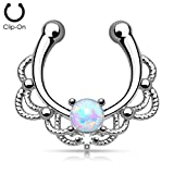 Kultpiercing - Fake Septum Piercing Schmuck Fake Nasenpiercing Clip-On Tribal mit Opal Vergleich