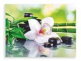 Artland Qualitätsbilder I Glasbilder Deko Breit 80 cm Hoch 60 cm Wellness Zen Grün Spa Steine Bambus Zweige weiße Orchidee Feng Shui