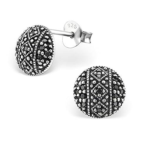 Silvinity Damen Ohrstecker Zirkonia schwarz Ø8mm - 925 Silber Ohrringe rund Stecker Silber oxidiert mit Etui #SV-245