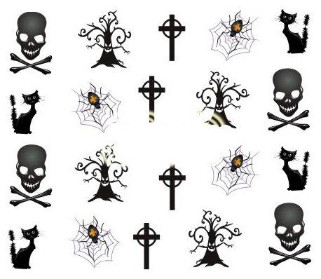 Halloween Cartoon Nagel Aufkleber Dekoration Wasser Transfer Halloween - A1108 Nail Sticker Tattoo - FashionLife