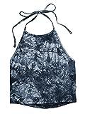 ROMWE Damen Tie Dye Neckholder TrägerCrop Top Sommer Schulterfrei Bauchfrei Crop Top Marineblau S
