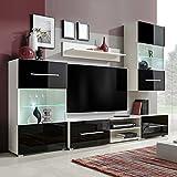 UnfadeMemory Fünfteilige Wohnzimmer Wohnwand TV-Schrank mit LED-Beleuchtung Komplettset Spanplatte TV-Element Anbauwand Wandschrank Set (Schwarz und Weiß)