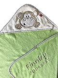 Kapuzendecke/Kapuzentuch mit Name u. Geburtsdatum bestickt/Kapuzen Decke aus Mikrofaser - kuschelig warm / 76 x 80