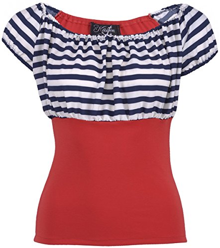 Küstenluder NEELY Sailor Striped 50s Streifen AHOY Retro BLUSE Shirt Rockabilly