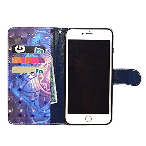 GrandEver iPhone 6 Plus/iPhone 6S Plus Hülle Glitzer 3D Ledertasche Schutzhülle Bling Vintage Muster Lederhülle mit Kartenfach und Handschlaufe Handyhülle Scratch Ledercase Handytasche Schale Umschlag Mandala