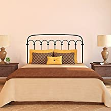 """Cabecero de cama cabecero de cama pared vinilo adhesivo cabecero decoración adhesivo de pared metal marco de la cama dormitorio decoración de arte de los tacos, vinilo, negro, 34""""hx60""""w"""
