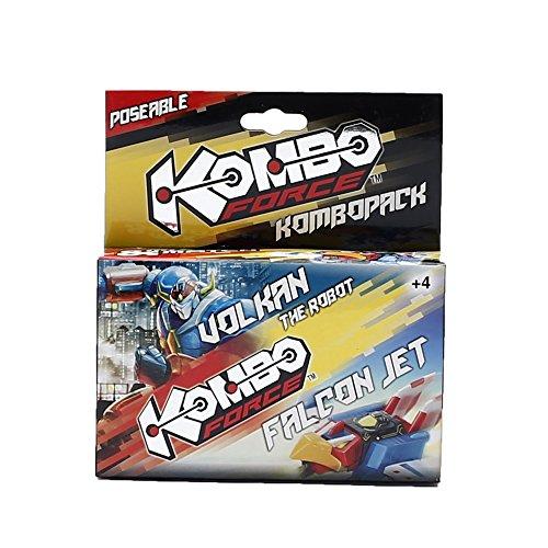Giochi Preziosi - KomboForce, Personaggio Mix & Match Volkan con Veicolo Falcon Jet, Multicolore