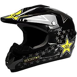 Larcele Casco de Motocross de motocicleta SDYYK-01 (XL, Negro)