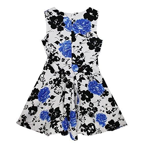 West See Damen Blumen Floral Sommer Kleid Party Cocktailkleid Minikleid Abendkleid Ball Blau